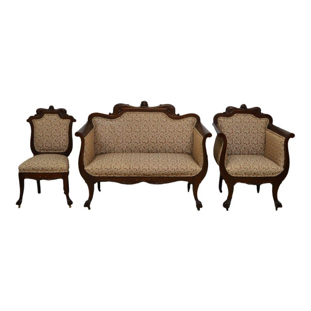 Antique Mahogany 3pc Parlor Set : Settee , Arm Chair , Chair - Image 1 of 11