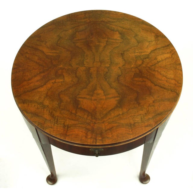 """Baker Furniture """"Milling Road"""" Figured Walnut Regency Side Table - Image 5 of 10"""