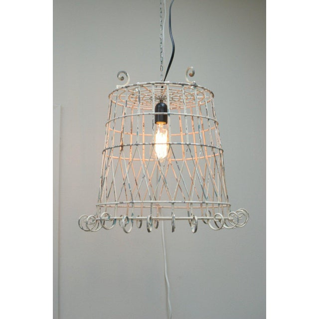 Antique Pendant Wire Cage Lamp - Image 2 of 5