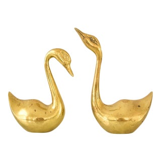 Mid Century Solid Brass Swans - A Pair