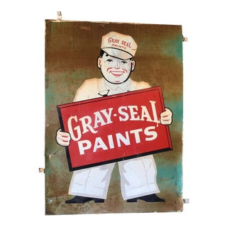 Vintage Original Gray-Seal Paints Sign