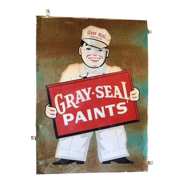 Image of Vintage Original Gray-Seal Paints Sign