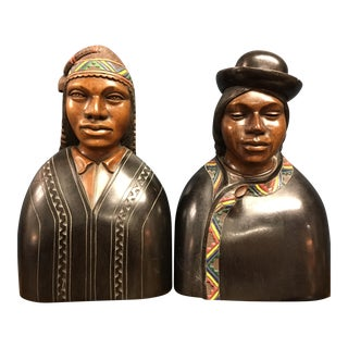 J Ramirez Hand Carved Bolivian Man & Woman Busts - A Pair