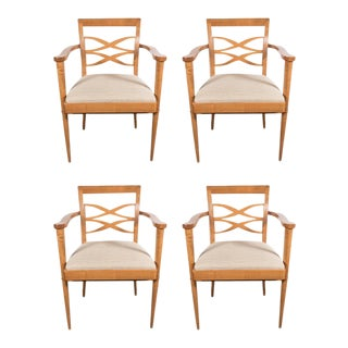 Exquisite Set of Four Mid-Century Dining Chairs in the Manner of Adnet