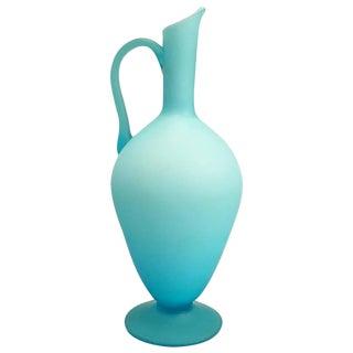 Sandblasted Robin's Egg Blue Glass Pitcher or Urn