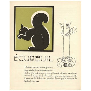 1930s French Art Deco Squirrel Print