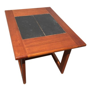 Interform Danish Modern Teak & Slate Side Table