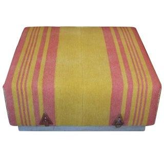 Wool Horse Blanket Upholstered Ottoman II
