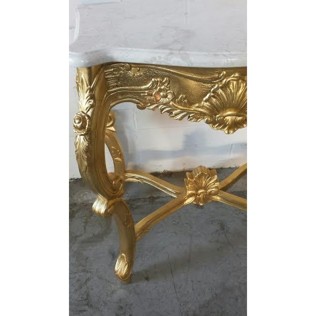 French Rococo XV Marble Top Console Table - Image 6 of 9