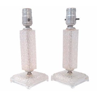 American Art Deco Glass Accent Lamps - Pair