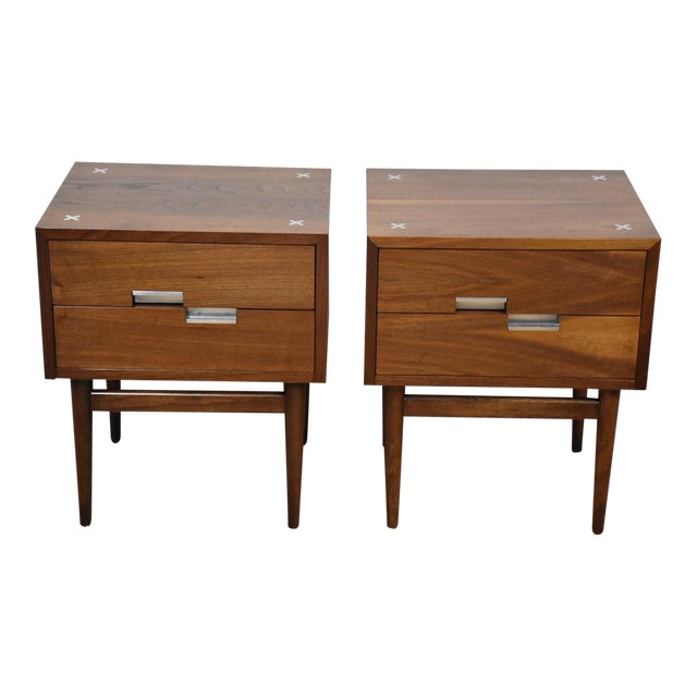 Image of American of Martinsville Walnut Nightstands - A Pair