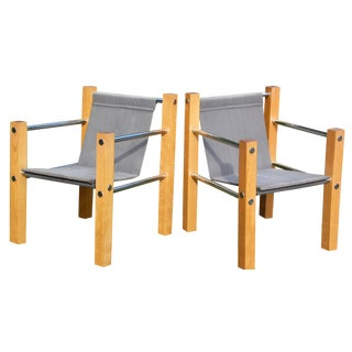 Italian Wood & Chrome Canvas Sling Chairs - A Pair