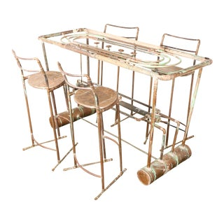 Industrial Copper Bar Table & 4 Bar Stools