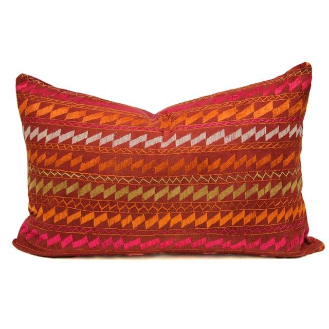 Ceremonial Bagh Phulkari Lumbar Pillow - Image 1 of 3