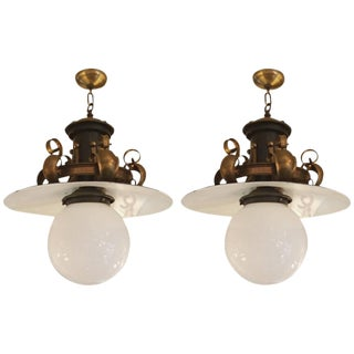 Large Mixed Metal Globe Fixtures - A Pair