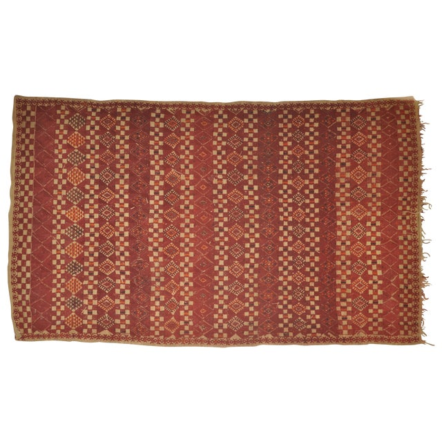 "Vintage Moroccan Wool Straw Rug - 5'10"" x 8'10"" - Image 1 of 4"