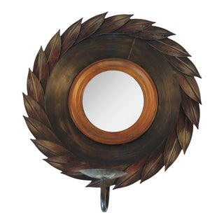 Round Metal Convex Mirror Sconce
