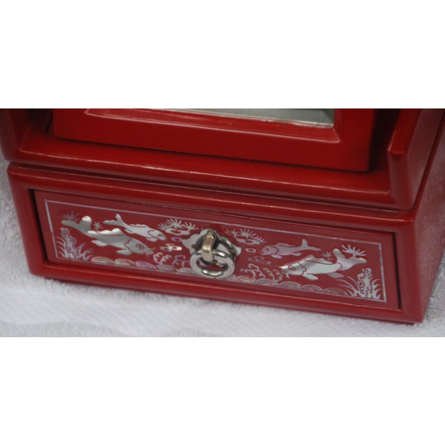 Red Lacquered Asian Jewelry Box - Image 5 of 9