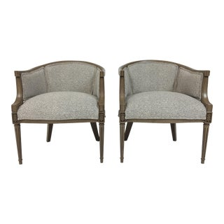 Transitional Barrel Linen Chairs - A Pair