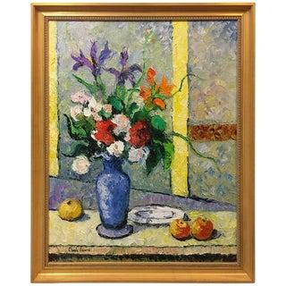 """Hughes Claude Pissarro """"Le Bouquet Au Vase Bleu"""" Oil on Canvas Painting"""