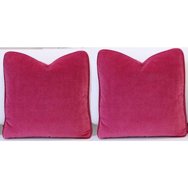 Fuschia Pink Velvet Pillows - Pair - Image 2 of 3