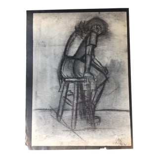 Mid-Century Charcoal Female Figure Sketch