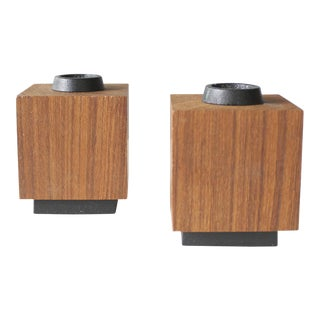 Random Industries Mid-Century Modern Iron & Teak Candle Holders- A Pair