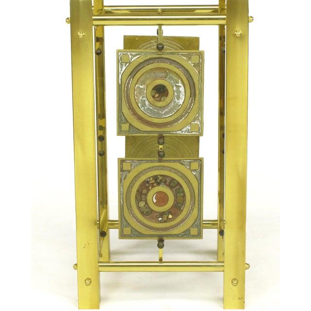Postmodern Enameled Brass Panel Studio Side Table - Image 7 of 10