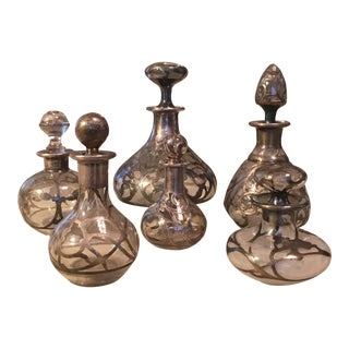 Silver Overlay Perfume Bottles - Set of 6