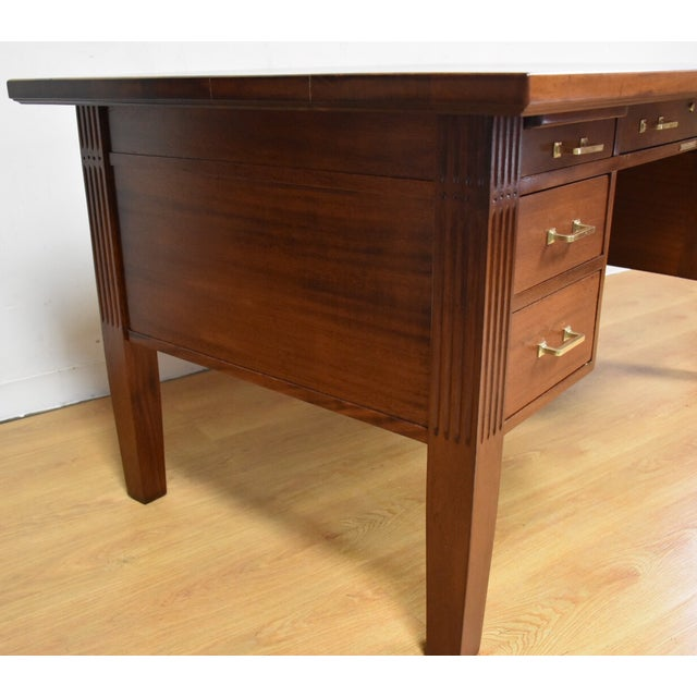 Antique Solid Mahogany Executive Desk - Image 5 of 11