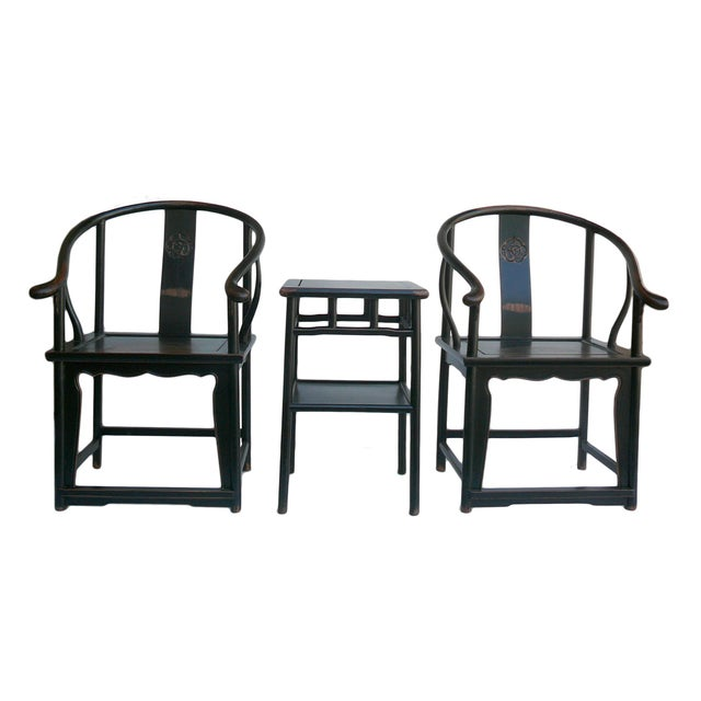 Chinese Black Lacquer Elm Armchairs & Side Table - Image 1 of 6