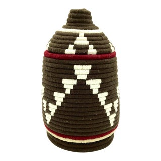 Brown & Ivory Moroccan Wool Basket