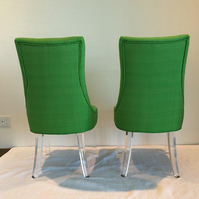 Green Silk Acrylic Chair - Image 4 of 9