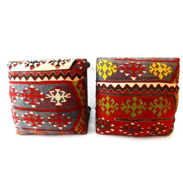 Image of Antique Caucasian Kilim Stools - Pair
