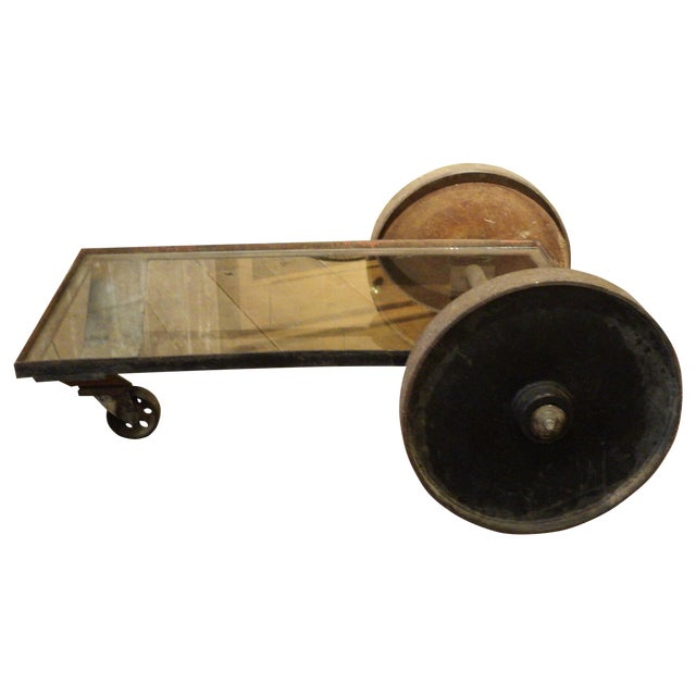 Antique Industrial Metal Glass Table on Wheels - Image 1 of 8
