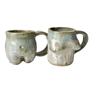 Ceramic Nude Torso Mugs - A Pair