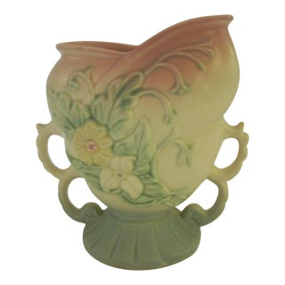 Hull Rose & Green Pottery Vase