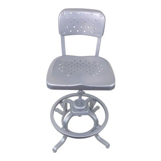 Good Form Mid-Century Modern Industrial Aluminum Drafting Swivel Stool Chair