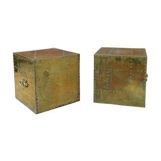 Brass Cubes by Sarreid Ltd - A Pair