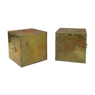 Brass Cubes by Sarreid Ltd - A Pair