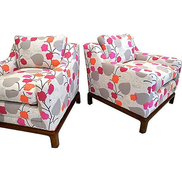 Colorful Floral Club Chairs - A Pair - Image 5 of 6