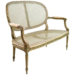 19th Century Antique Louis XVI Style French Caned Settee