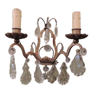 Early 20th C Italian Gilt and Iron Sconces