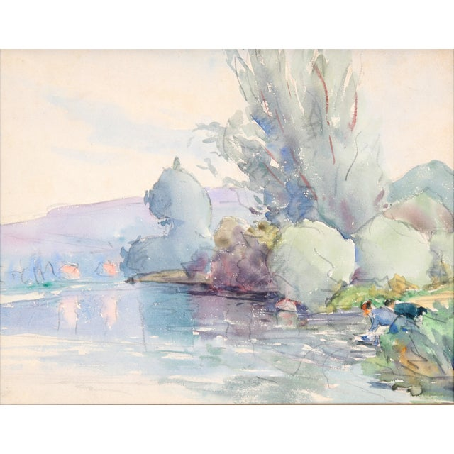 "Image of ""Lake in France"" Painting, C. 1930"