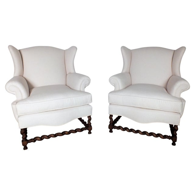 Antique Traditional Wingback Chairs - A Pair - Image 1 of 9
