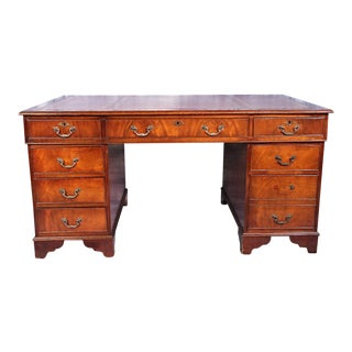 Antique English Mahogany Leather Top Writing Table