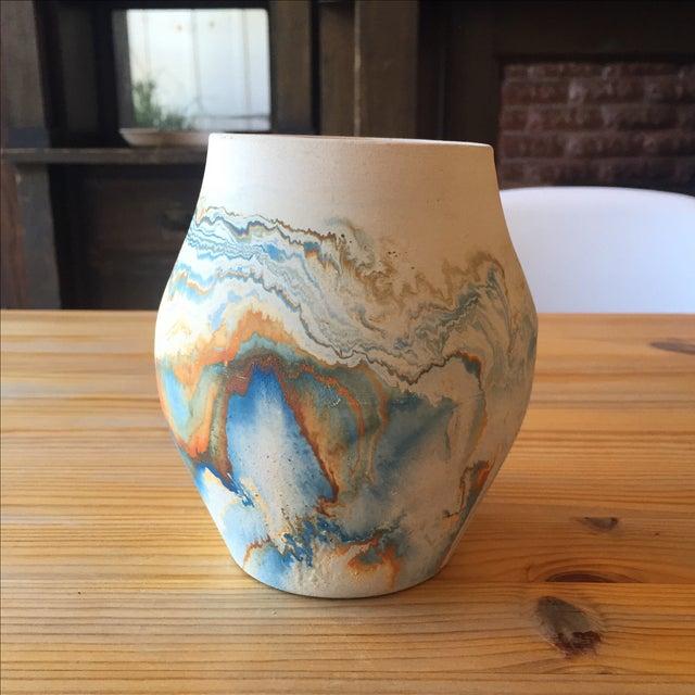 Vintage Blue and Orange Nedmadji Pottery Vase - Image 3 of 11