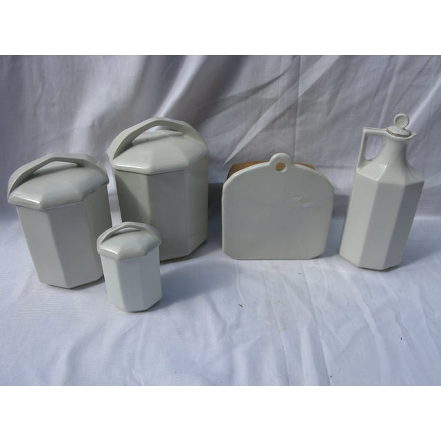 French Art Deco Porcelain Canisters - Set of 5 - Image 3 of 3