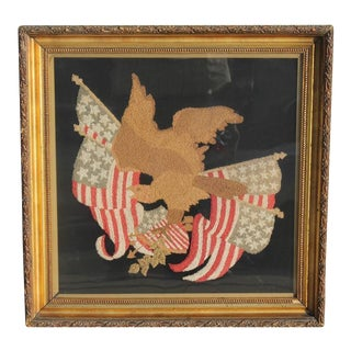 Mid-19th century embroidered eagle with original frame.