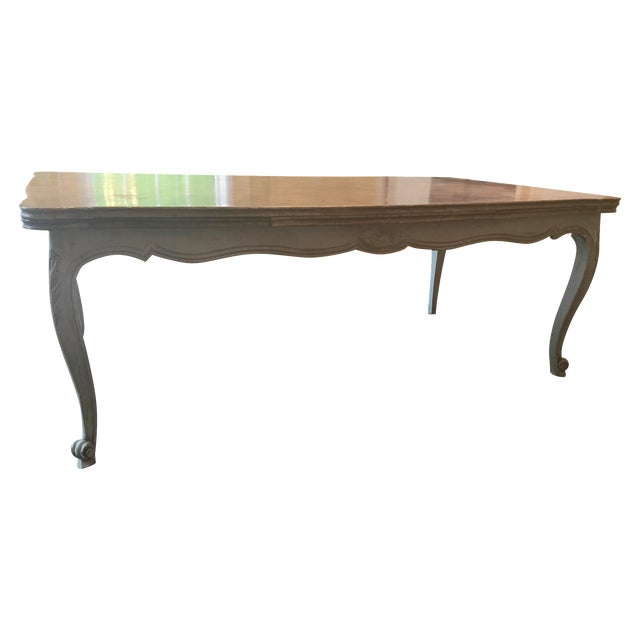 French Country Parquetry Top Dining Table - Image 1 of 6